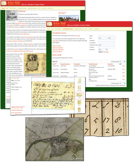 On-line archive database of historical and original documents and maps