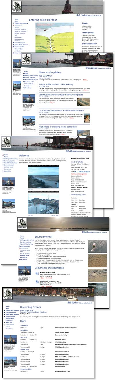Screenshots of pages from Wells harbour website...