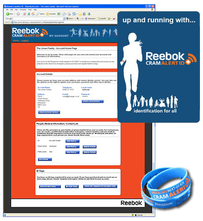 Screenshot of Reebok CramAlert web database